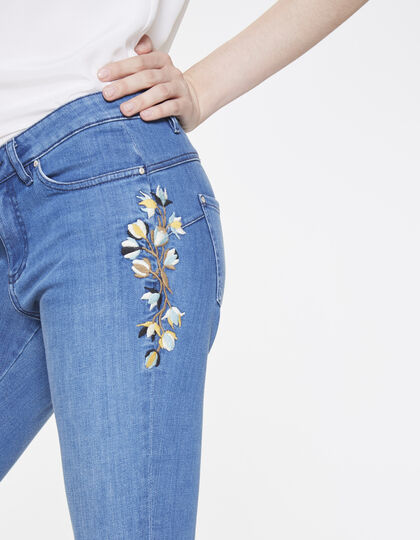 Jeans with floral embroidery, slim fit - IKKS Women